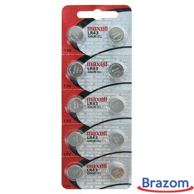 Bateria Maxell LR 43 / 186 Cartela com 10 unidades