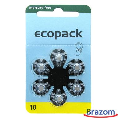 Bateria para aparelho auditivo Ecopack 10 com (6 pcs)