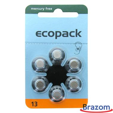 Bateria para aparelho auditivo Ecopack 13 com 6 pcs