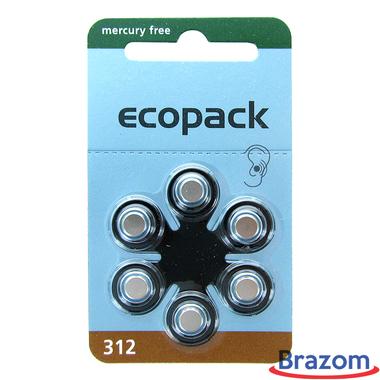 Bateria para aparelho auditivo Ecopack 312 com 6 pcs