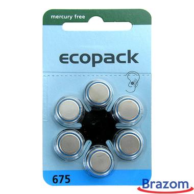 Bateria para aparelho auditivo Ecopack 675 com 6 pcs