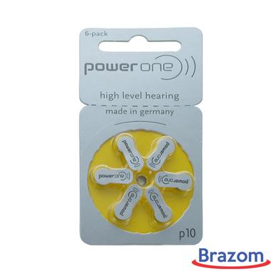Bateria Power One P10 para aparelhos auditivos, cartela com 06 unidades