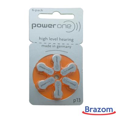 Bateria Power One P13 para aparelhos auditivos, cartela com 06 unidades