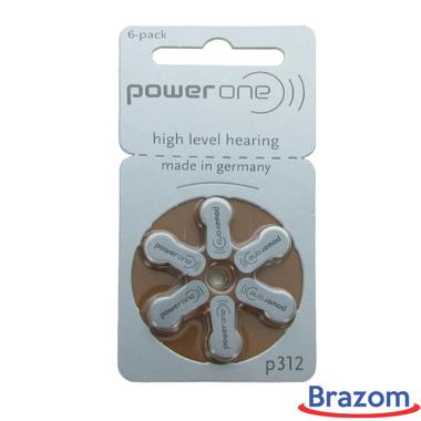 Bateria Power One P312 para aparelhos auditivos, cartela com 06 unidades