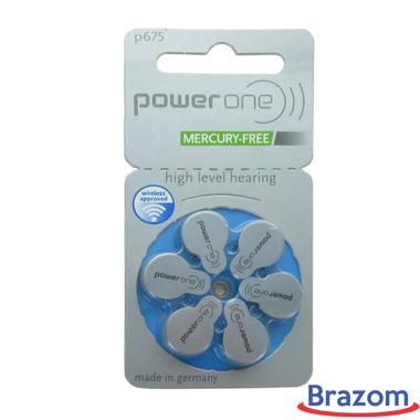 Bateria Power One P675 para aparelhos auditivos, cartela com 06 unidades